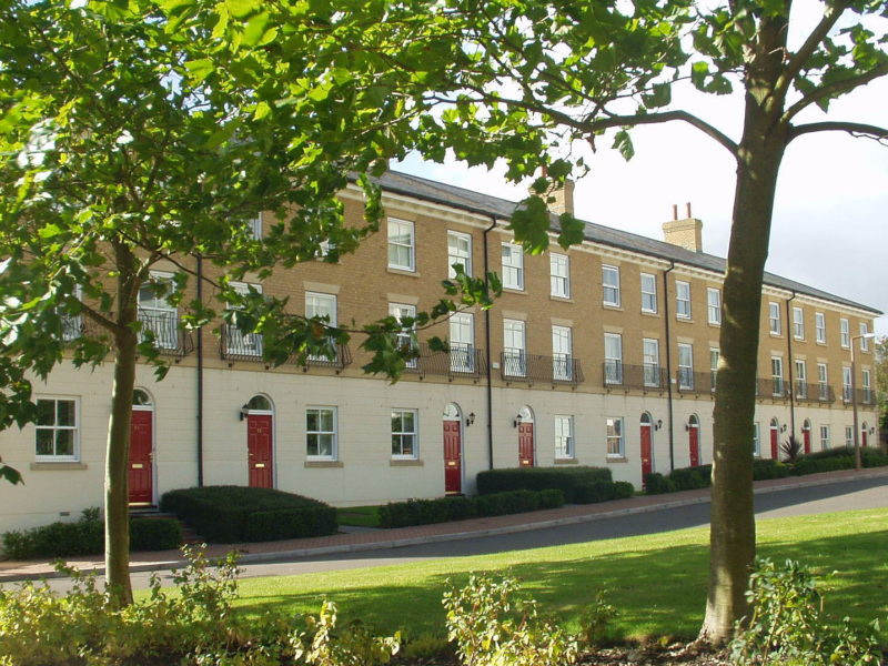 New terraced housing facing the converted hospital